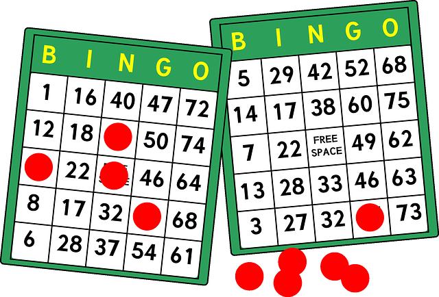 Bingobrickor under spel med markeringar i några av rutorna